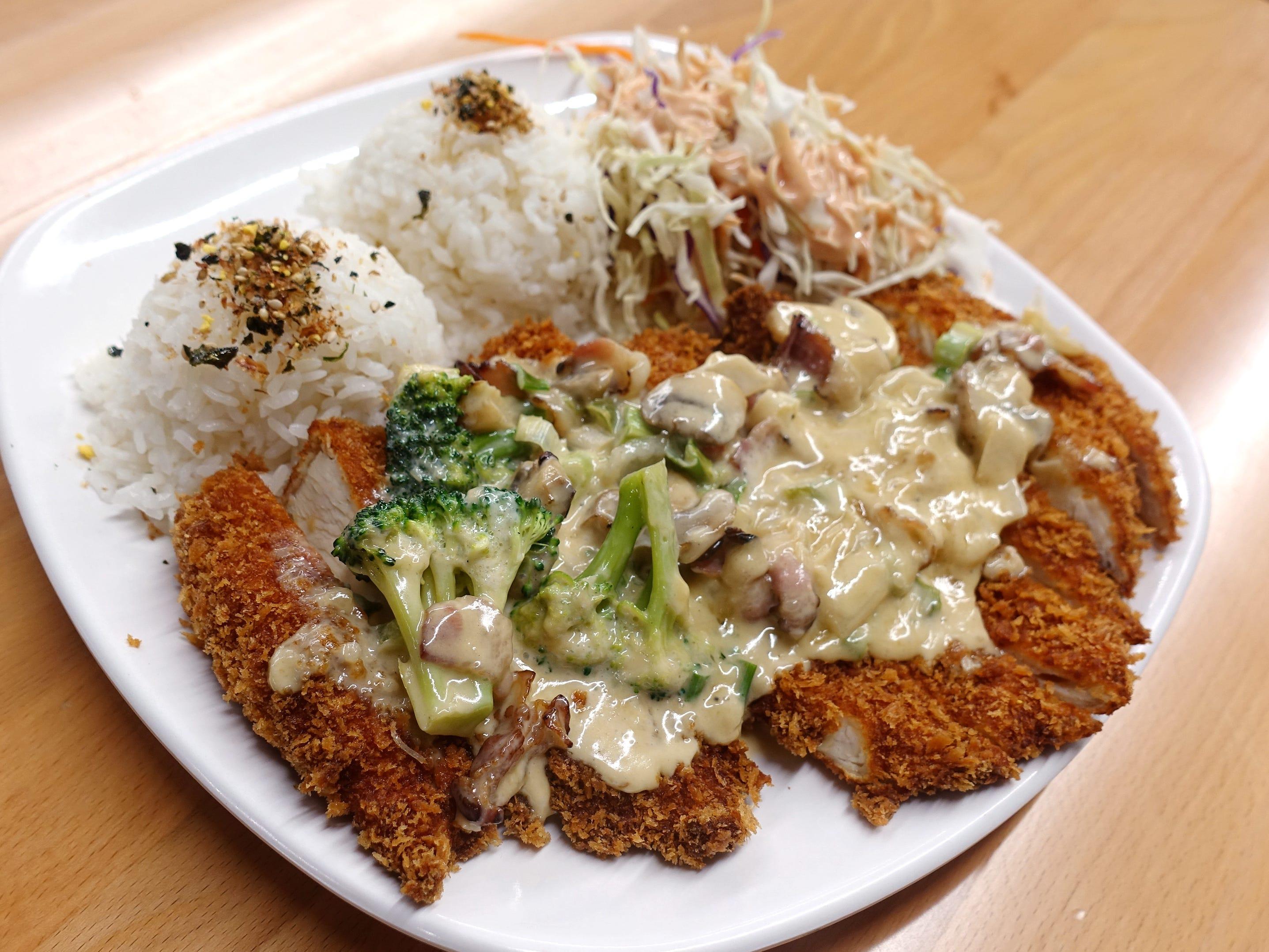 Chicken katsu with carbonara sauce at Katsu at Asiana Market in Mesa.