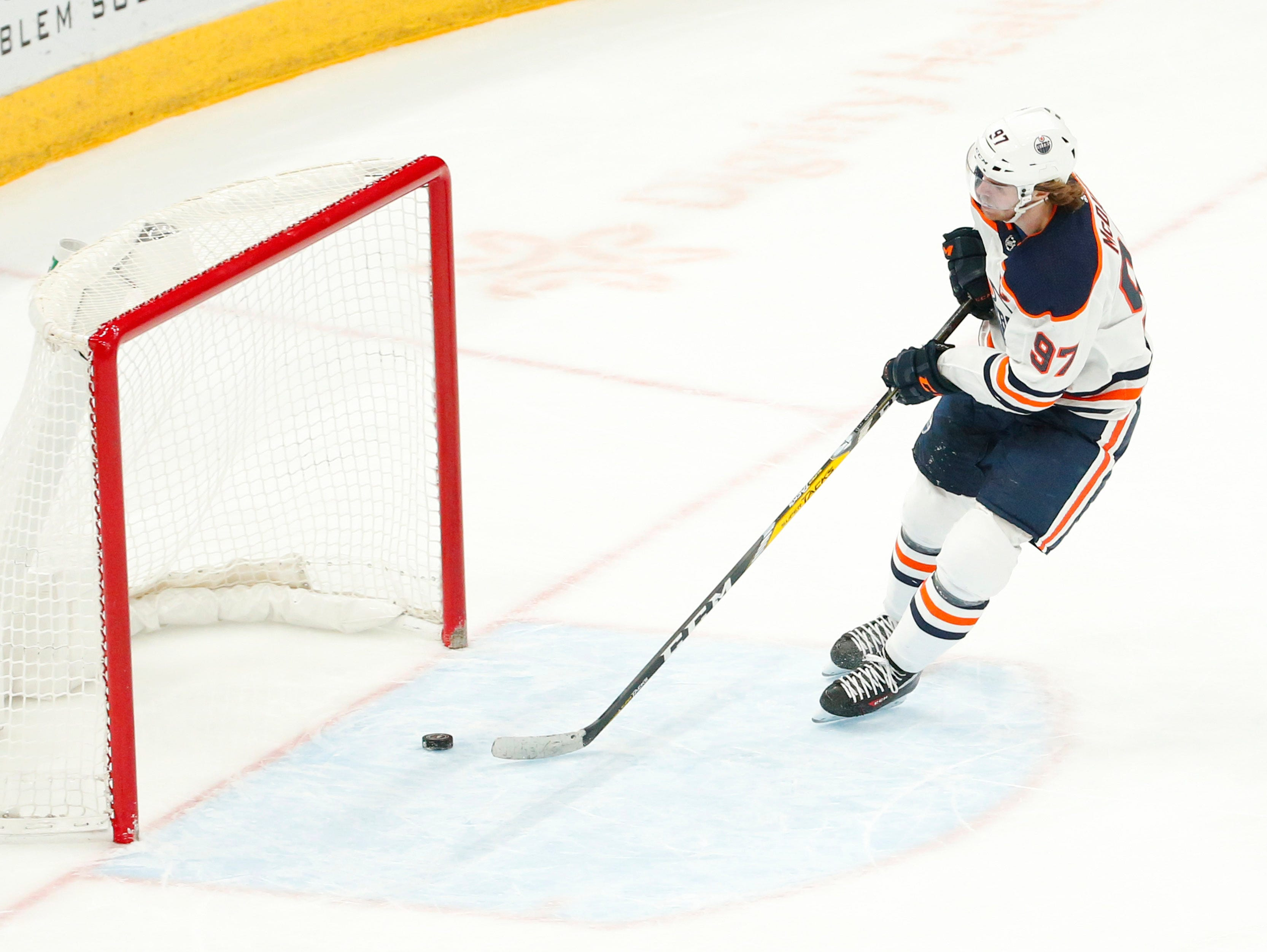 Edmonton Oilers center Connor McDavid (97) scores an empty net goal against the Arizona Coyotes during the third period in Glendale January 2, 2019.