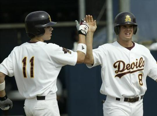 Jeremy West (8) played baseball at ASU from 2001-03, finishing with a .353 career batting average and 36 home runs.