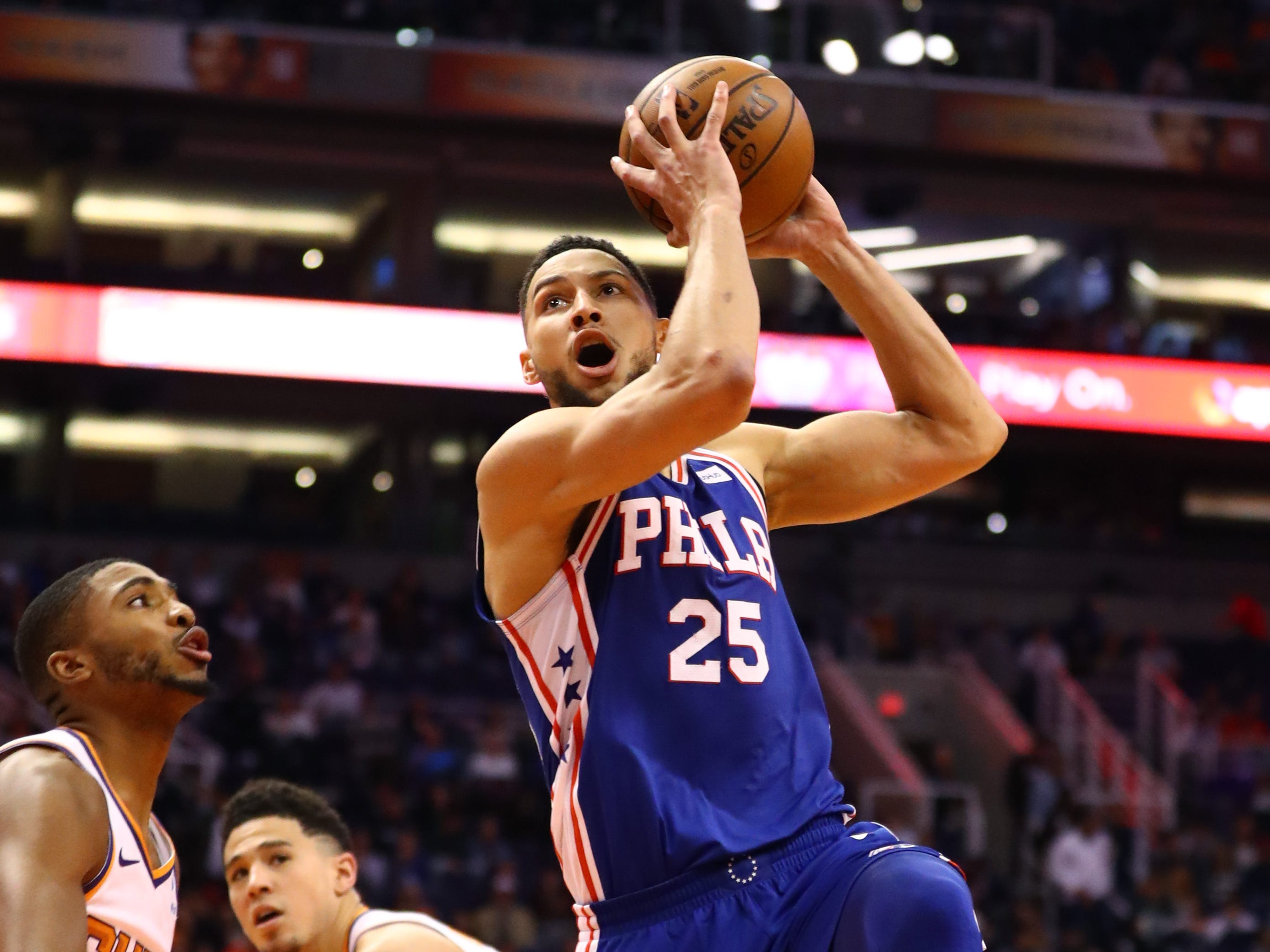Jan 2, 2019; Phoenix, AZ, USA; Philadelphia 76ers guard Ben Simmons (25) drives to the basket against the Phoenix Suns in the second half at Talking Stick Resort Arena. Mandatory Credit: Mark J. Rebilas-USA TODAY Sports