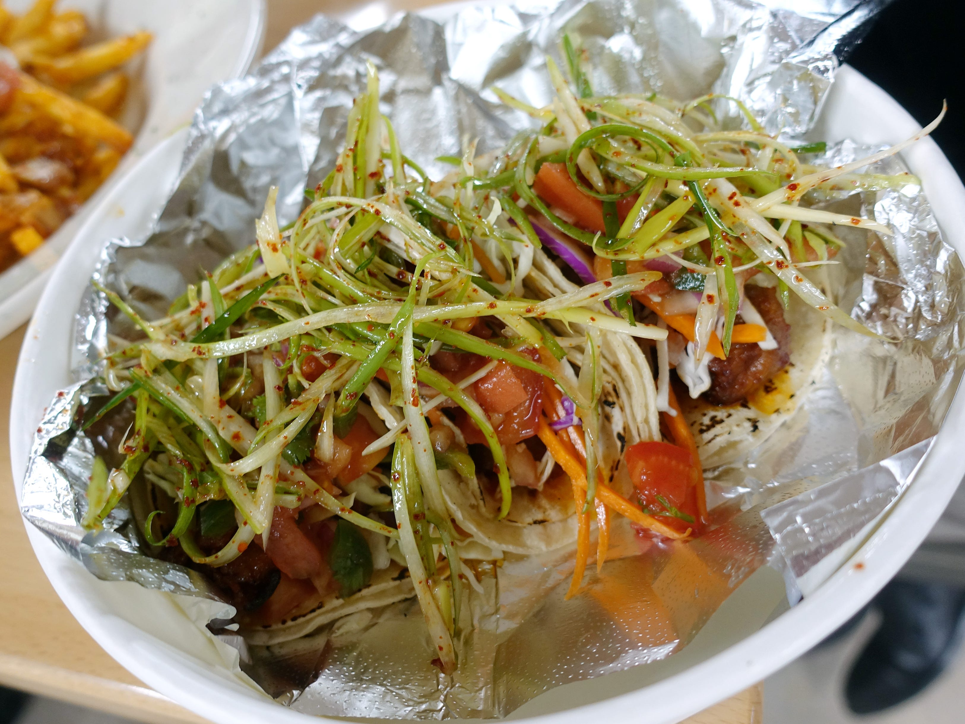 Spicy pork tacos at Katsu at Asiana Market in Mesa.