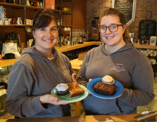 From left, Alexandria and Christine Fulton with a selection of vegan treats at Sweet Obsessions Cafe in the Town of Poughkeepsie on January 3, 2019.