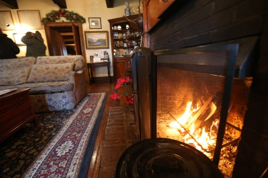 The fireplace in the lobby of the Beekman Arms in Rhinebeck on December 27, 2018.