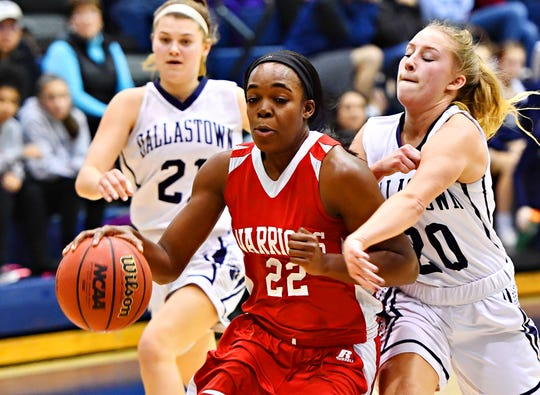 Susquehannock's Jaden Walker, left, moves the ball down the court while Dallastown's Lily Jamison defends during girls' basketball action at Dallastown Area High School in York Township, Wednesday, Jan. 2, 2019. Dallastown would win the game 44-42. Dawn J. Sagert photo