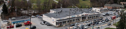 This three-shot panorama shows the the strip of South George St. York College purchased in Jan. 2018.