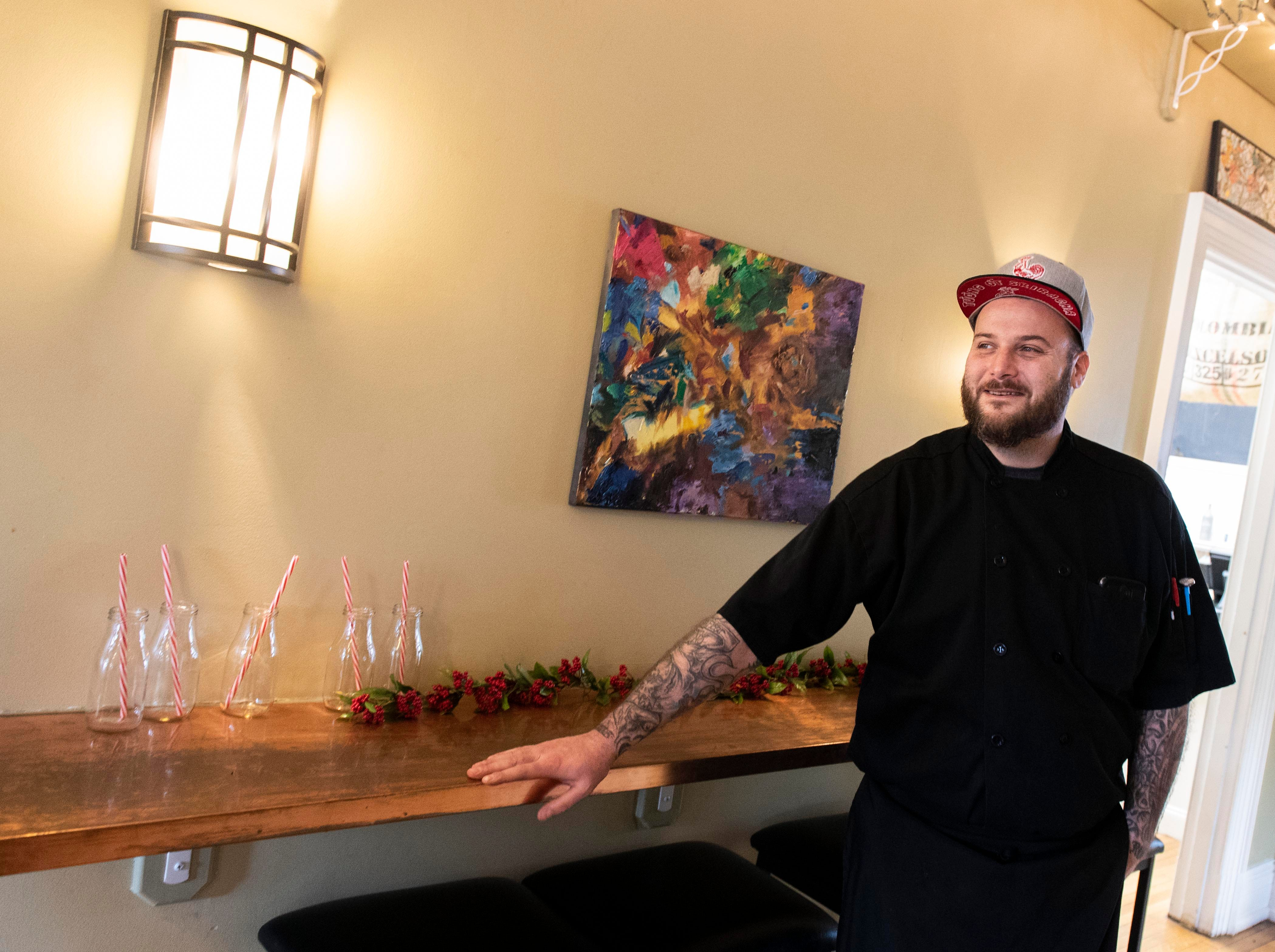 Michael McMonigle, owner and executive chef of HomeGrown Catering, says that he's always loved the restaurant business and when his youngest daughter was born, Isabelle, now 10-months-old, he decided to reach out to the former owner of the Front Porch Cafe in the Frey Mansion. HomeGrown is set to open on Jan. 10, with an American-style menu with a French twist. It's also BYOB.