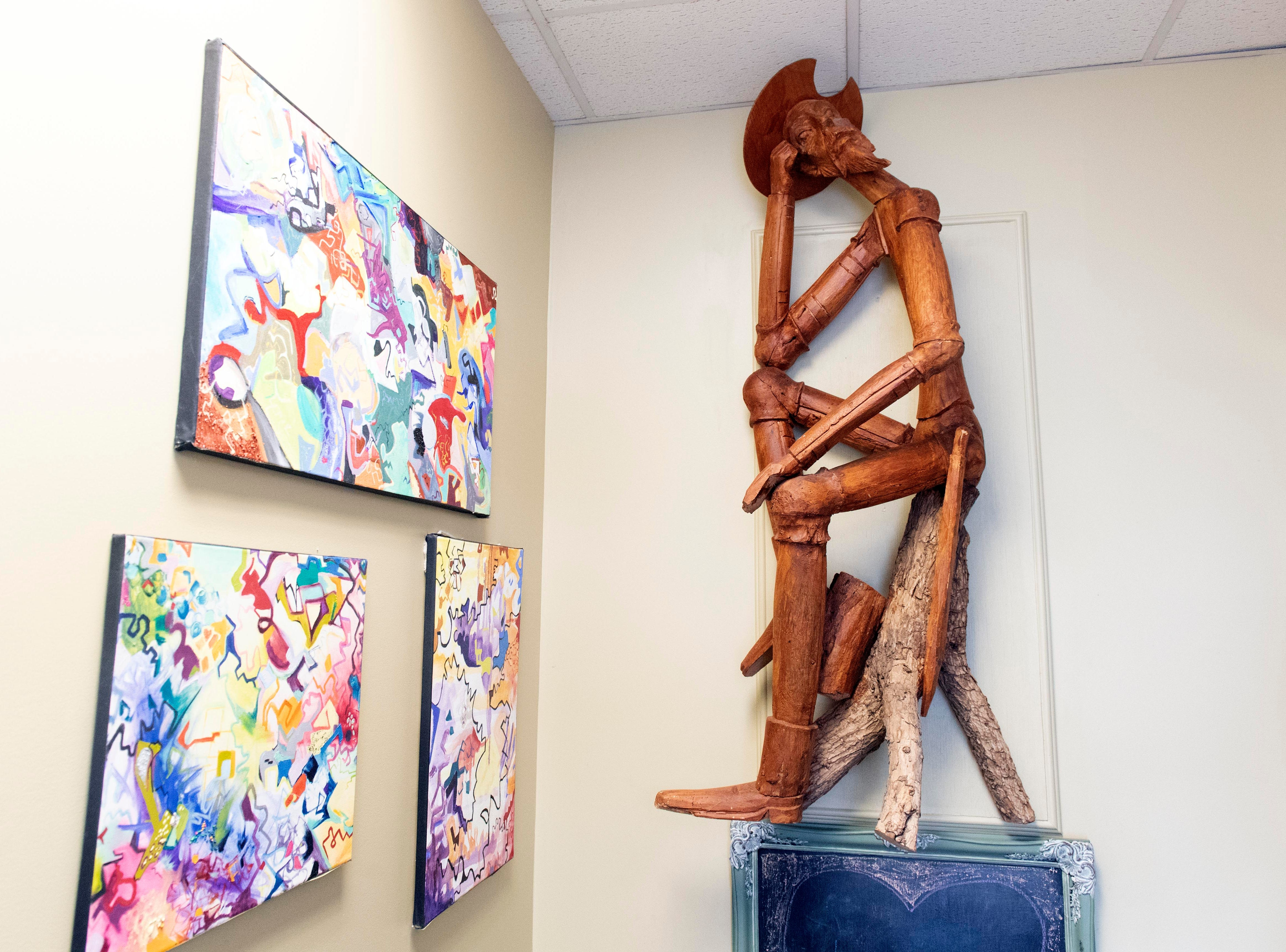 While HomeGrown features artwork from local artists, this wooden sculpture was left over from the Front Porch Cafe, which closed in March of 2018. HomeGrown is set to open on Jan. 10, with an American-style menu with a French twist. It's also BYOB.