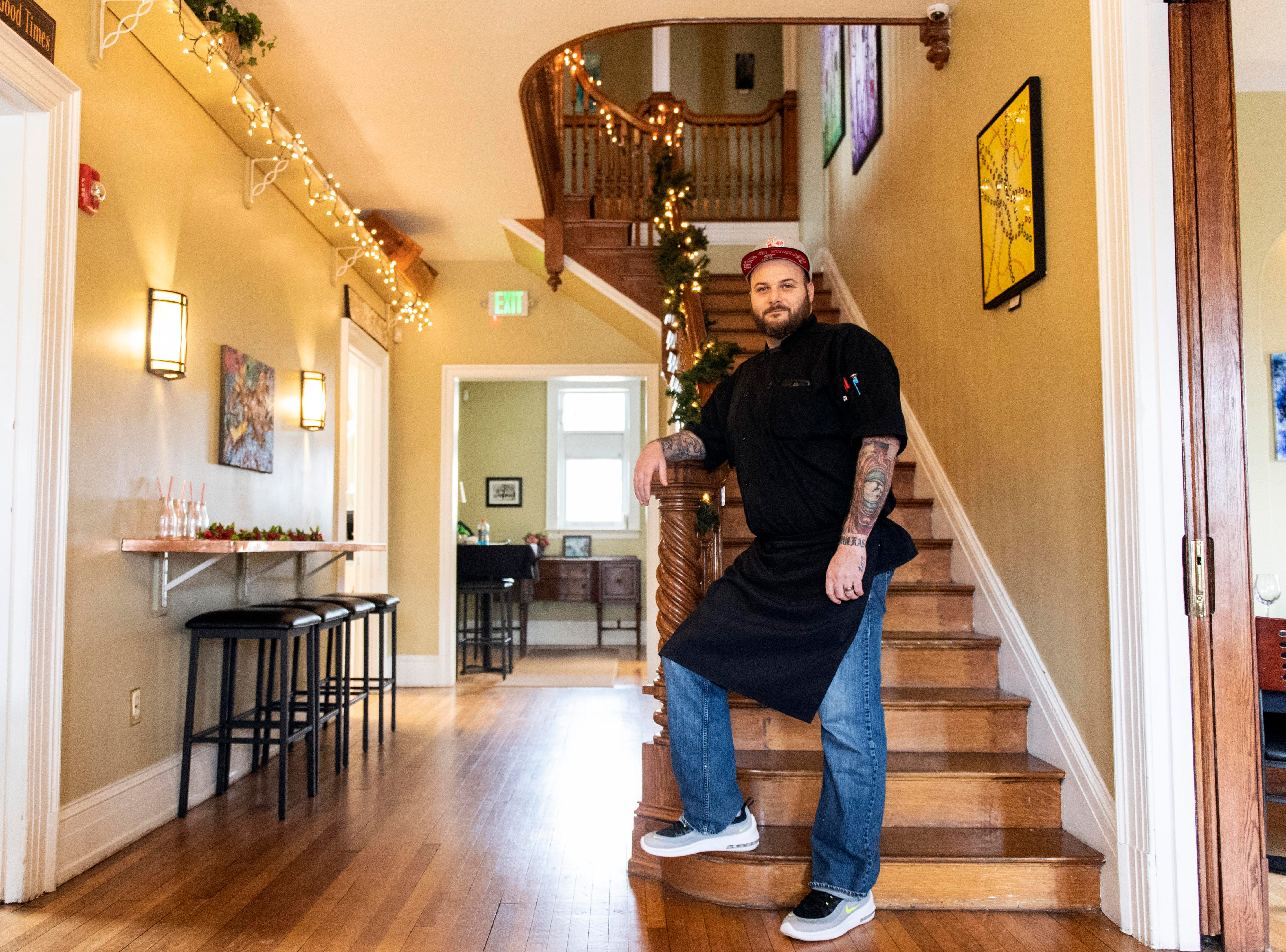 Micheal McMonigle, owner and executive chef of HomeGrown Catering, poses for a portrait in the restaurant, Thursday, Jan. 3, 2019. The restaurant, which inhabits the historic Frey Mansion, is set to open Jan. 10, offering customers an American-style menu with a French twist, McMonigle says.