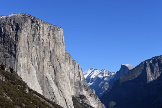 Yosemite National Park's El Capitan in the foreground with Half Dome in the distance on Jan. 2, 2019.