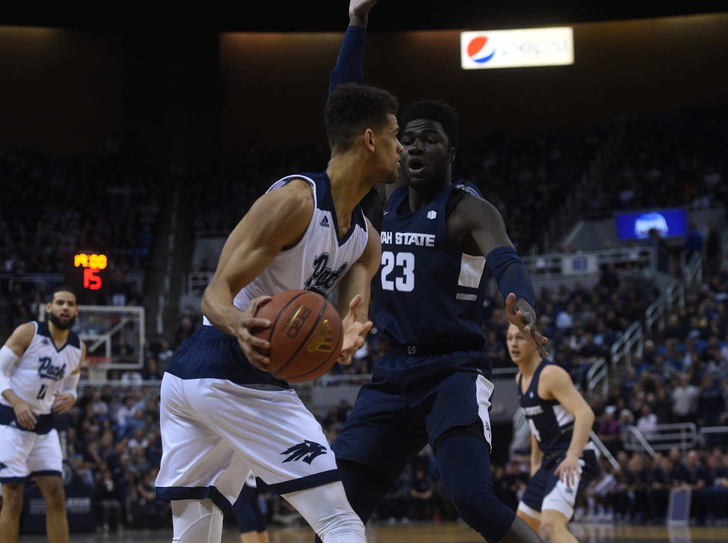 Nevada takes on Utah St. during their basketball game at Lawlor Events Center in Reno on Jan. 2, 2019.
