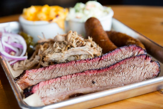 Brisket, pulled pork, sausage and sides by pitmaster Chad Lewis at Santiam Brewing in Salem on Wednesday, Jan. 2, 2019.