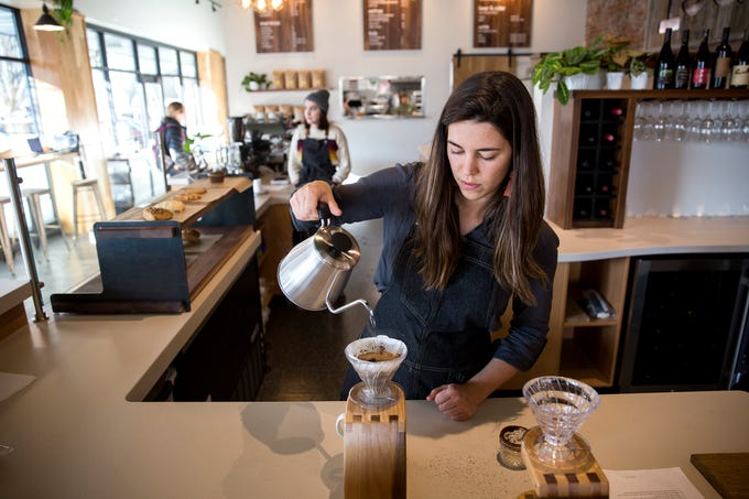 Melissa Semester, a barista and shift leader, works on a pour over coffee at Isaac's Downtown in downtown Salem on Wednesday, Jan. 2, 2019.