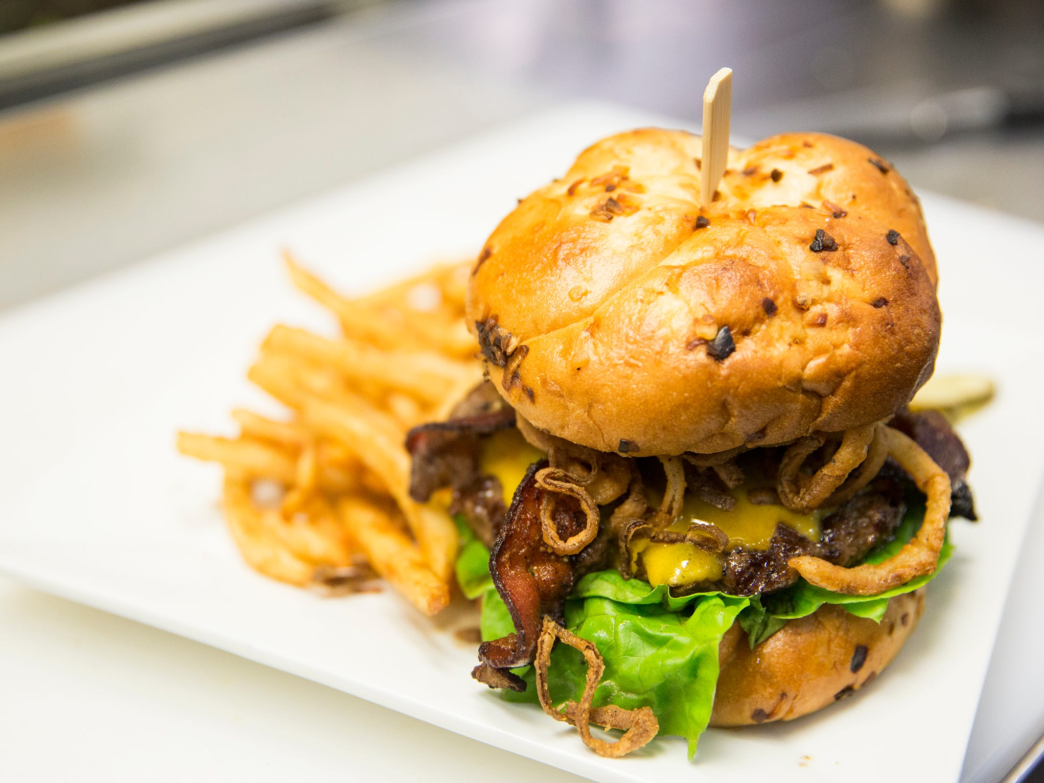 Santiam Brewing showcases their Santiam Pub Burger from the regular menu in Salem on Wednesday, Jan. 2, 2019.