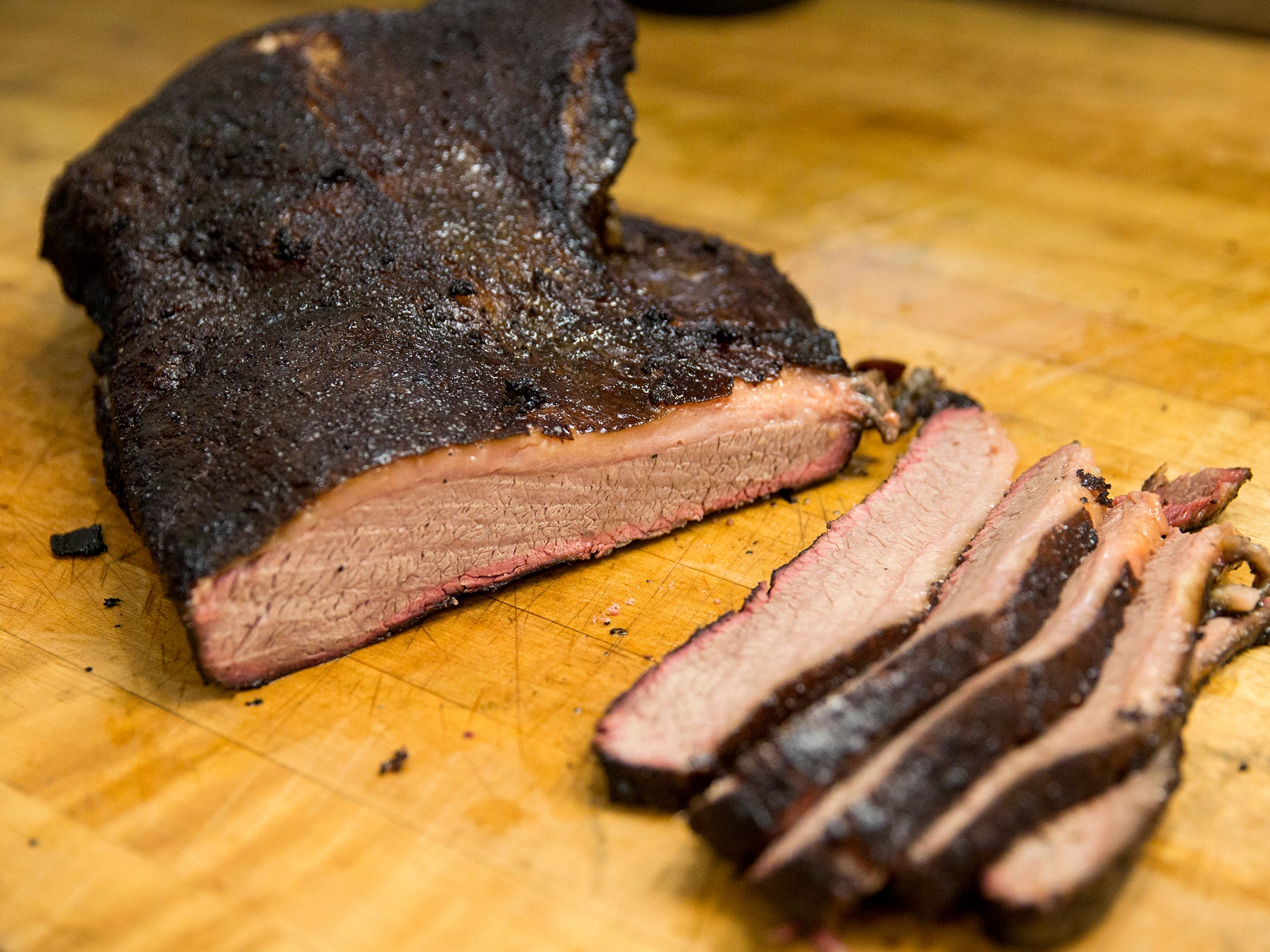 Brisket at Santiam Brewing in Salem on Wednesday, Jan. 2, 2019. The barbecue menu will be offered Thursday through Sunday.