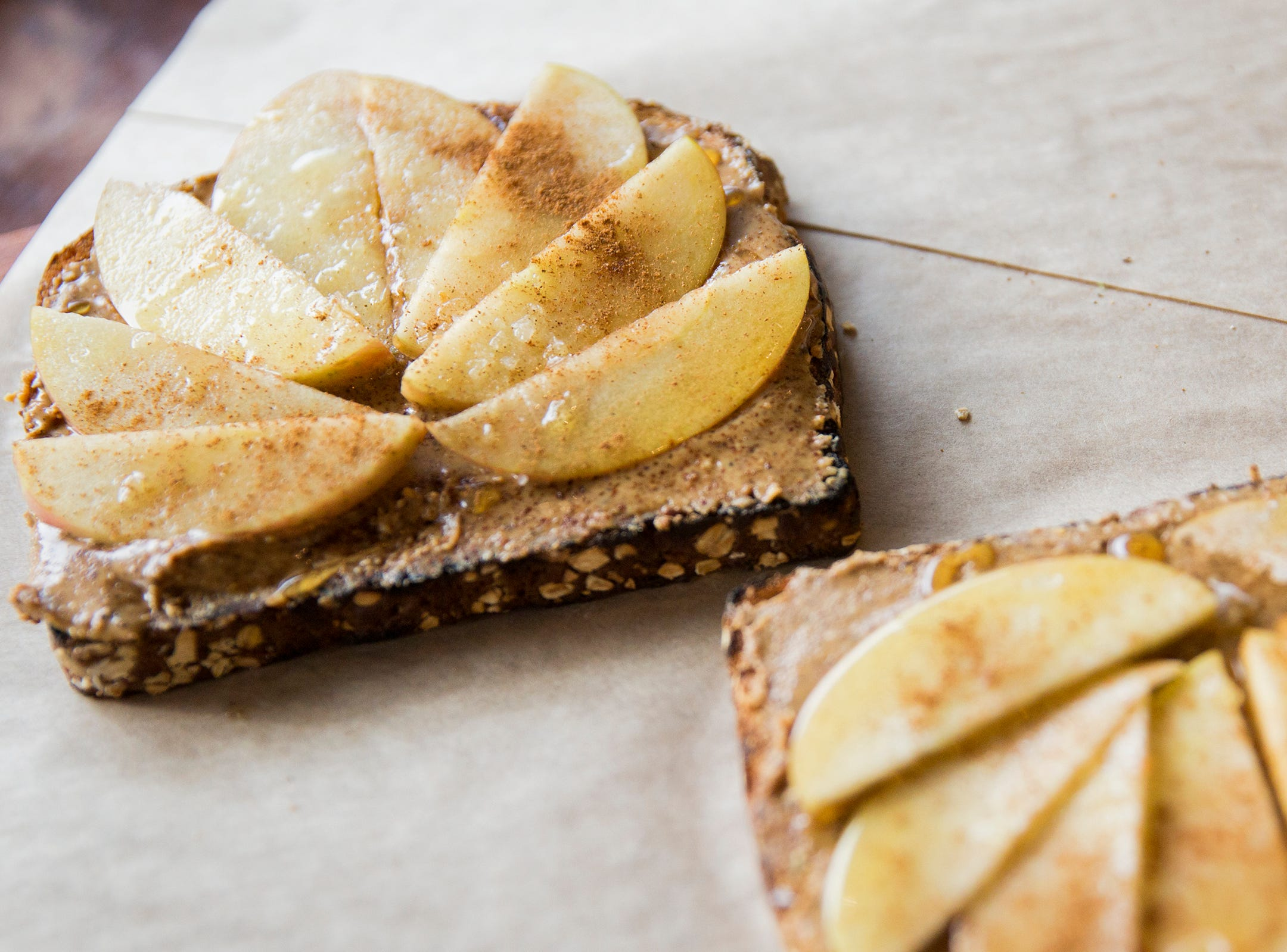 Toast with almond butter, apple, honey and cinnamon at Isaac's Downtown in Salem on Thursday, Jan. 3, 2019. The menu item is called Wenatchee.