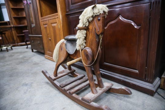 A horse rocker is on display Thursday, Jan. 3, 2019, at Bargain Cave.