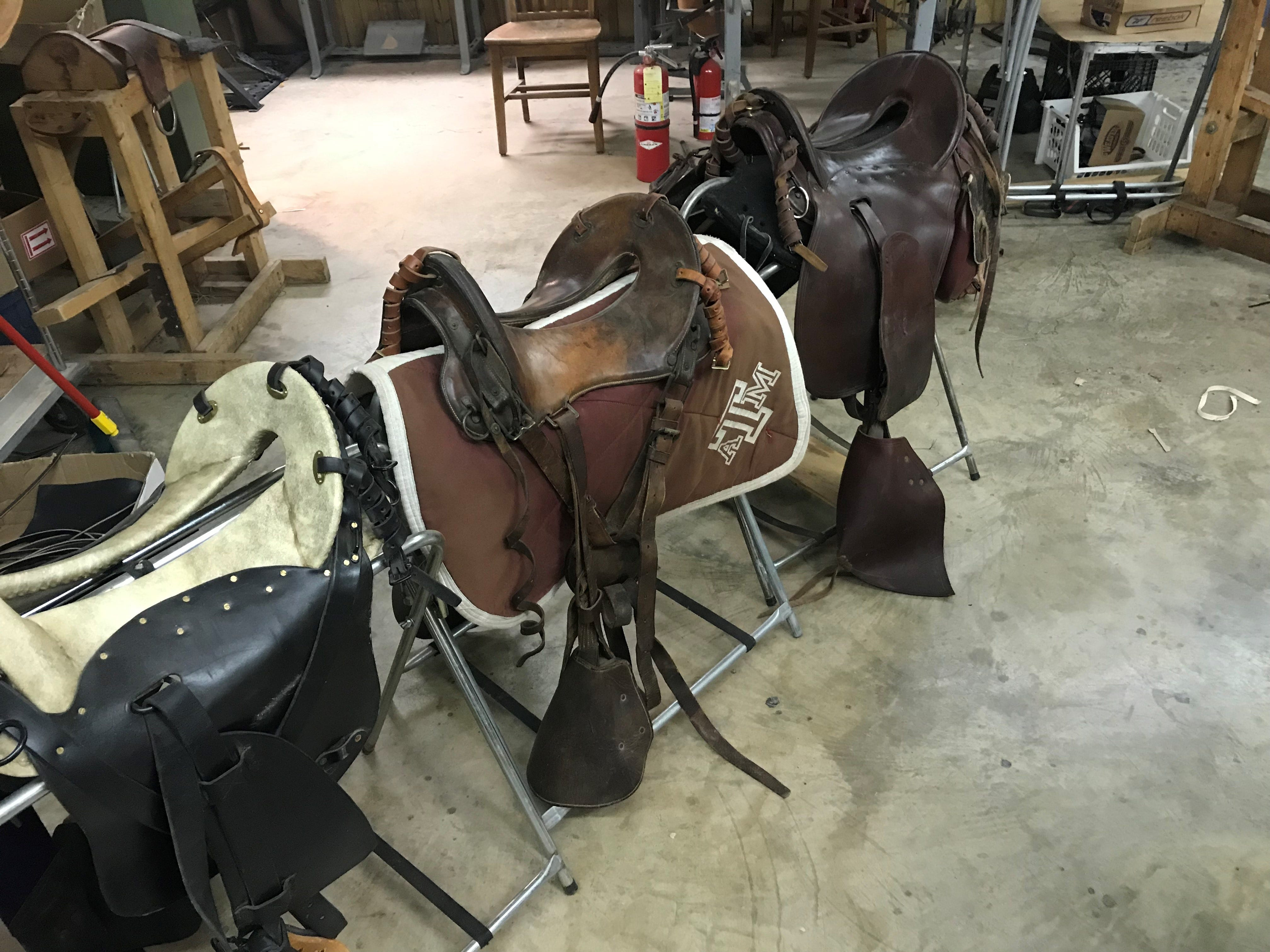 A saddle made for Texas A&M Parsons Mounted Cavalry at Shawn's Custom Saddles and Tacks, 6581 Sykes Circle. Photo taken Jan. 2, 2019.