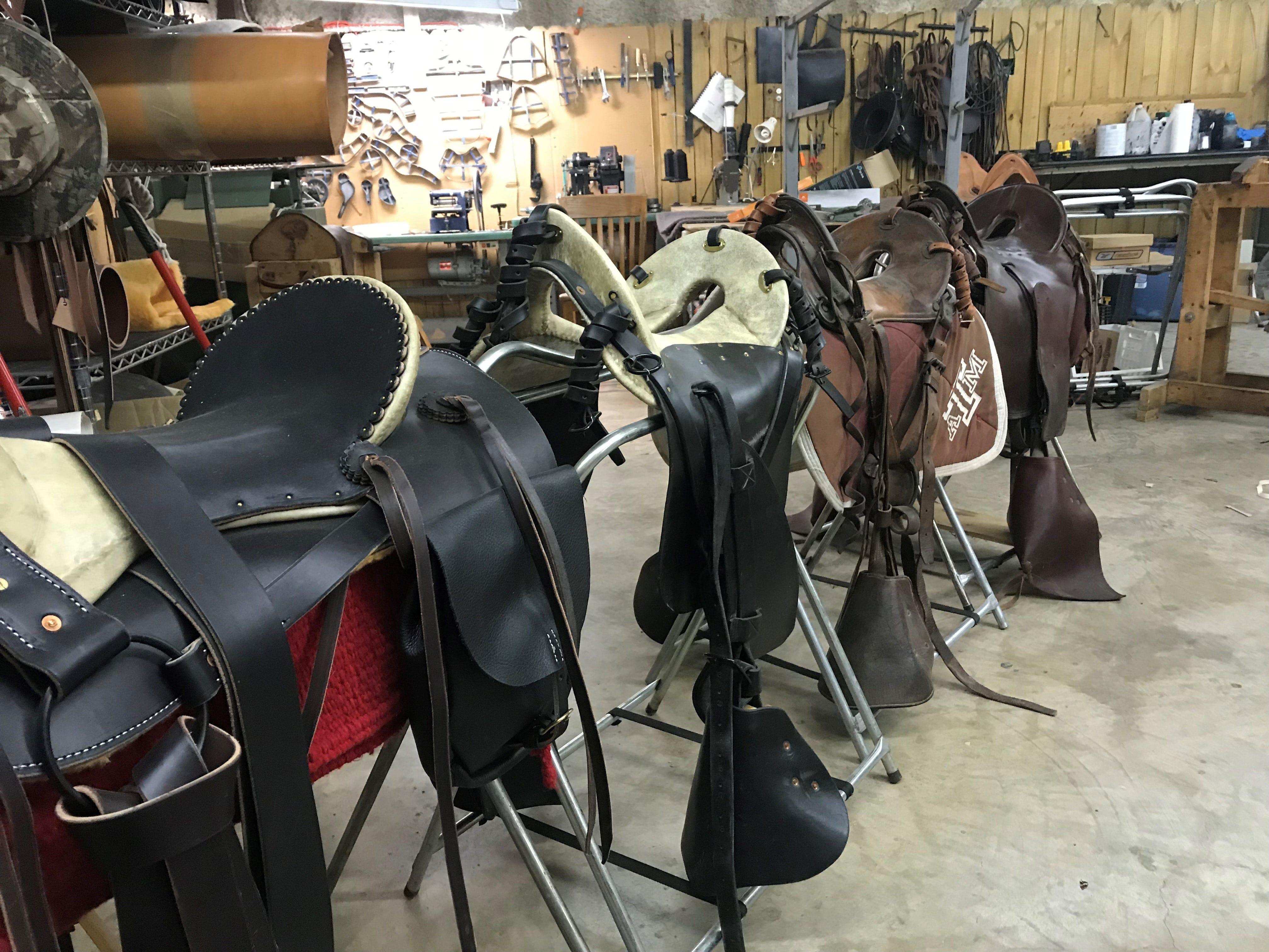 Saddles made by Nils Shawn Pascuzzi at Shawn's Custom Saddles and Tacks, 6581 Sykes Circle. Photo taken Jan. 2, 2019.