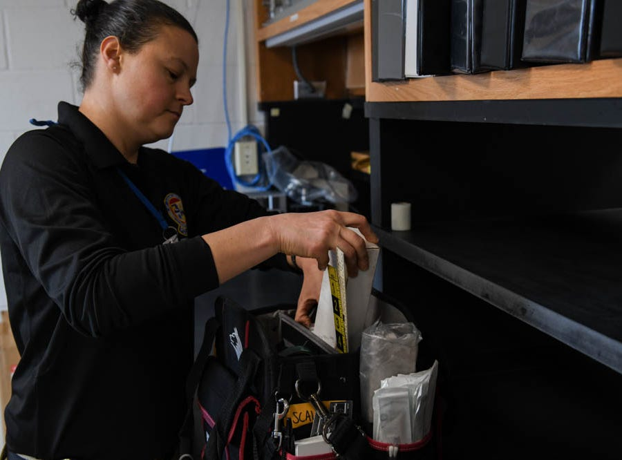 Crime Tech Nicole Ruggiero shows her field kit in the forensic lab in the Ocean City Police Department on Friday, Dec 21, 2018.