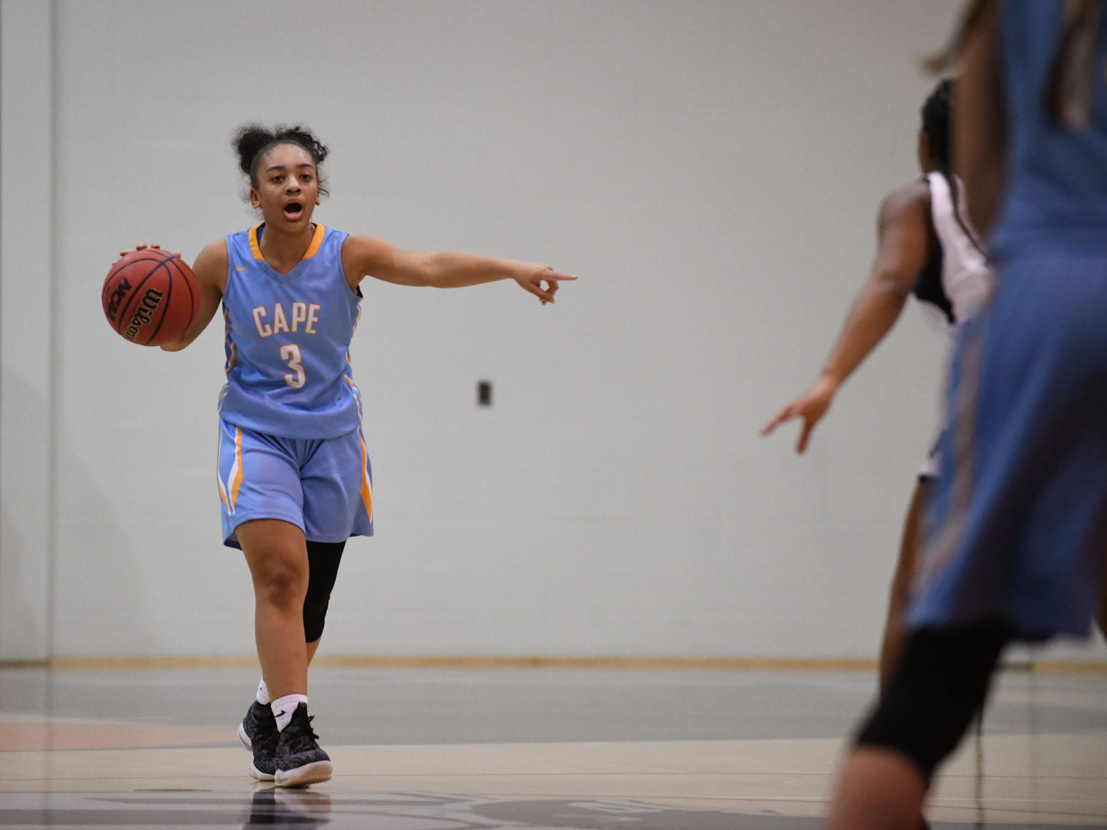 Cape Henlopen's Dania Cannon directs the offense  against Sussex Tech on Wednesday, Jan. 2, 2019.