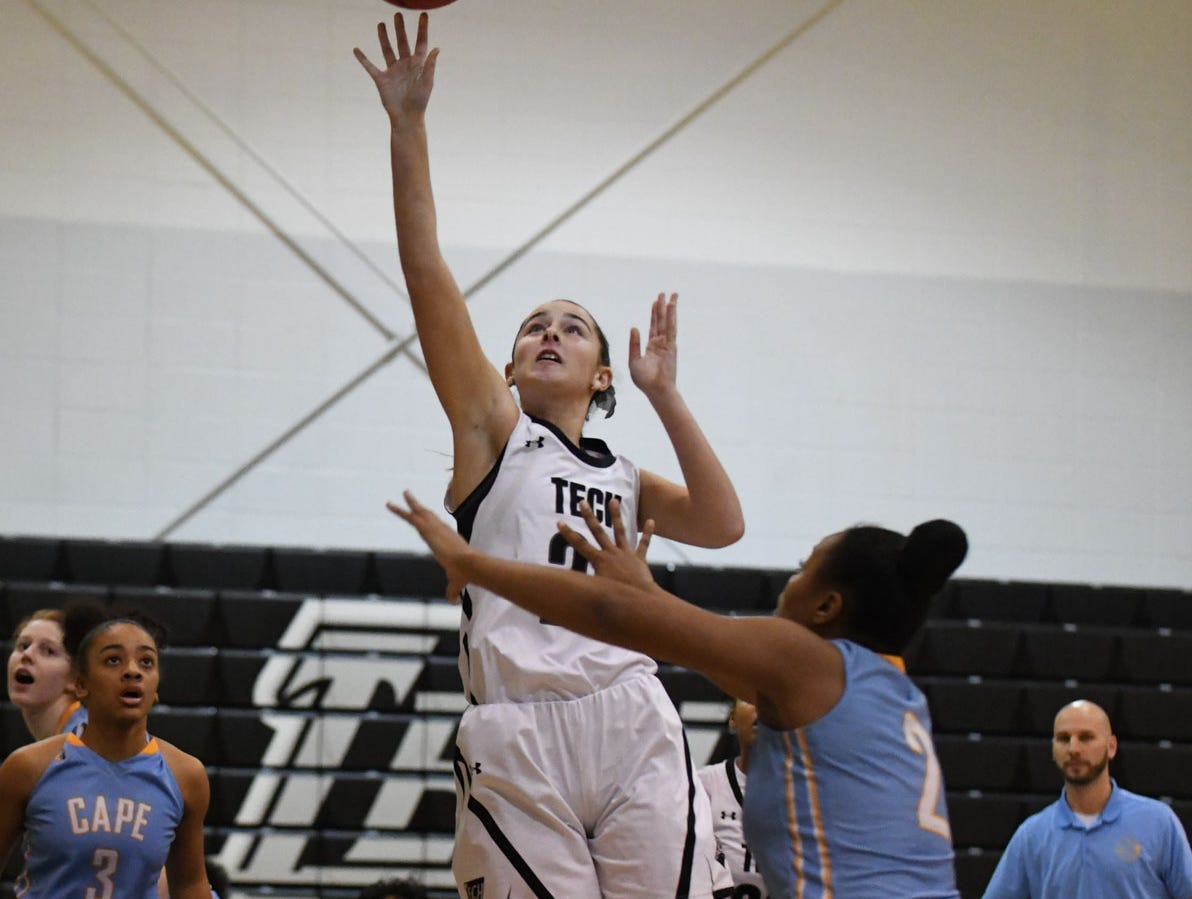 Sussex Tech's Nicolette Phillips with the shot against Cape Henlopen on Wednesday, Jan. 2, 2019.