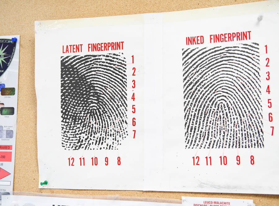 A fingerprinting sheet hangs in the forensic lab in the Ocean City Police Department on Friday, Dec 21, 2018.