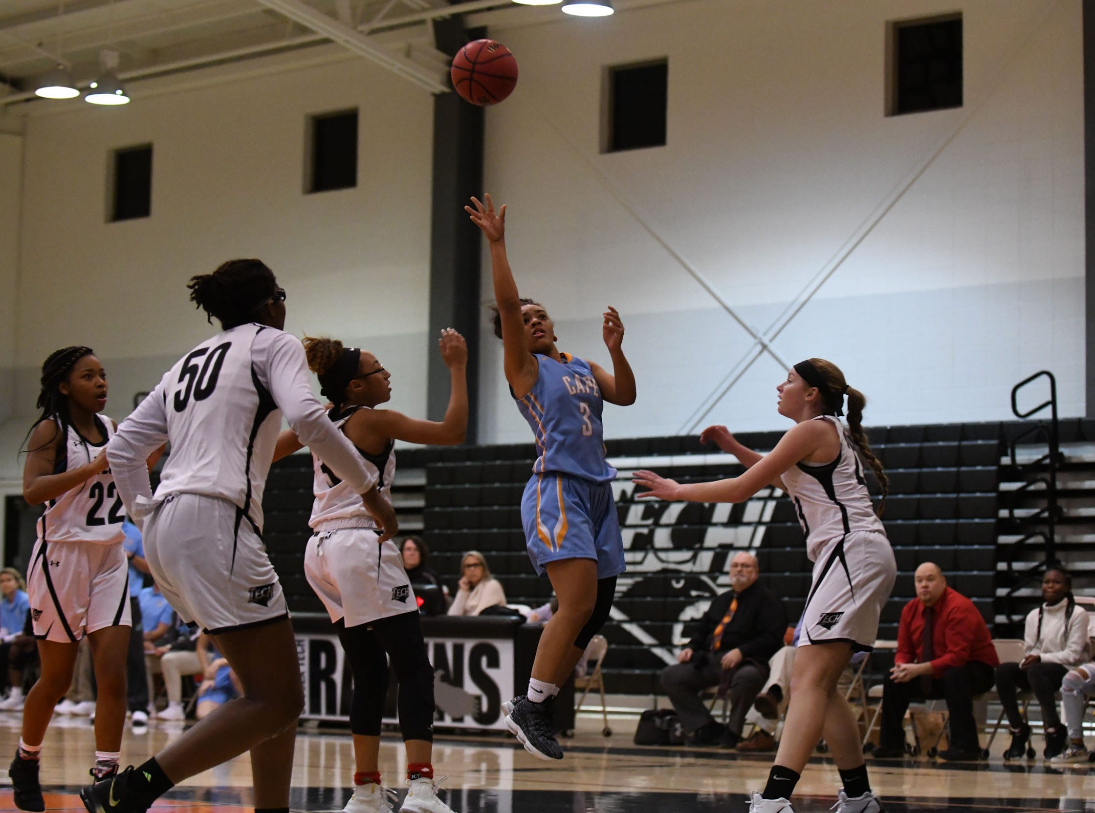 Cape Henlopen's Dania Cannon with the shot against Sussex Tech on Wednesday, Jan. 2, 2019.