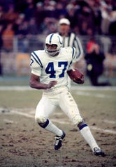 Baltimore Colts defensive back Charlie Stukes (47) in action during the 1971.
