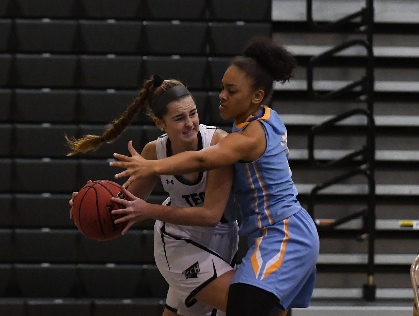 Sussex Tech's Nicolette Phillips against a tough Cape Henlopen defense on Wednesday, Jan. 2, 2019.