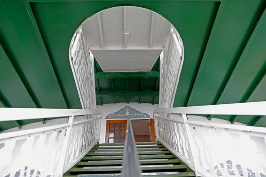 """This Nov. 29, 2018, photo shows stairs that lead to the second deck on the """"City of New Orleans"""" riverboat, as it is being restored, in New Orleans."""