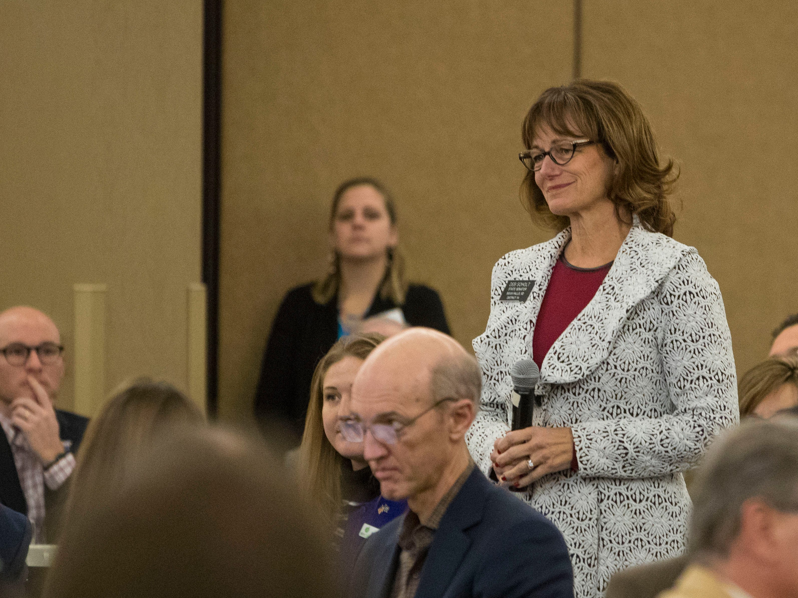 Senator Deb Soholt, District 14, speaks at the Chamber of Commerce legislative breakfast, Thursday, Jan. 3, 2019 at the Best Western Plus Ramkota Hotel in Sioux Falls, S.D.