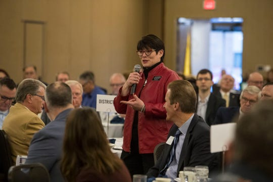 Rep. Sue Peterson, District 13, speaks at the Chamber of Commerce legislative breakfast, Thursday, Jan. 3, 2019 at the Best Western Plus Ramkota Hotel in Sioux Falls, S.D.