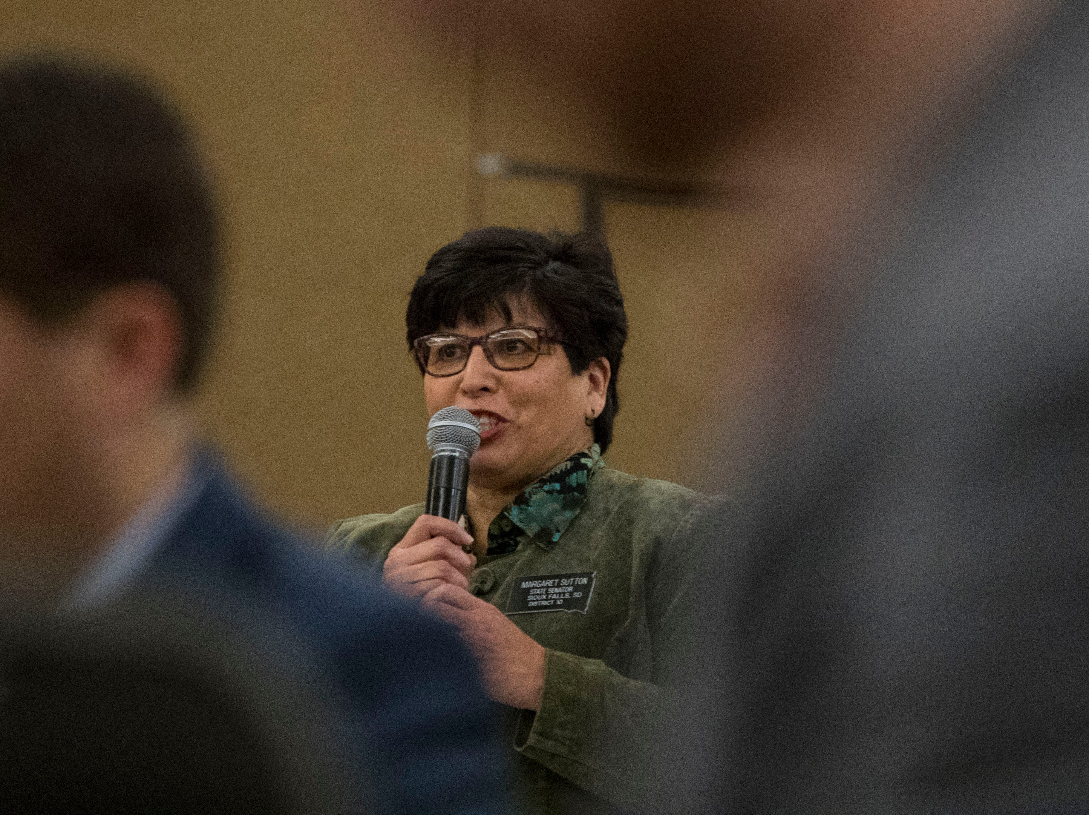 Senator Margaret Sutton, District 10, speaks at the Chamber of Commerce legislative breakfast, Thursday, Jan. 3, 2019 at the Best Western Plus Ramkota Hotel in Sioux Falls, S.D.
