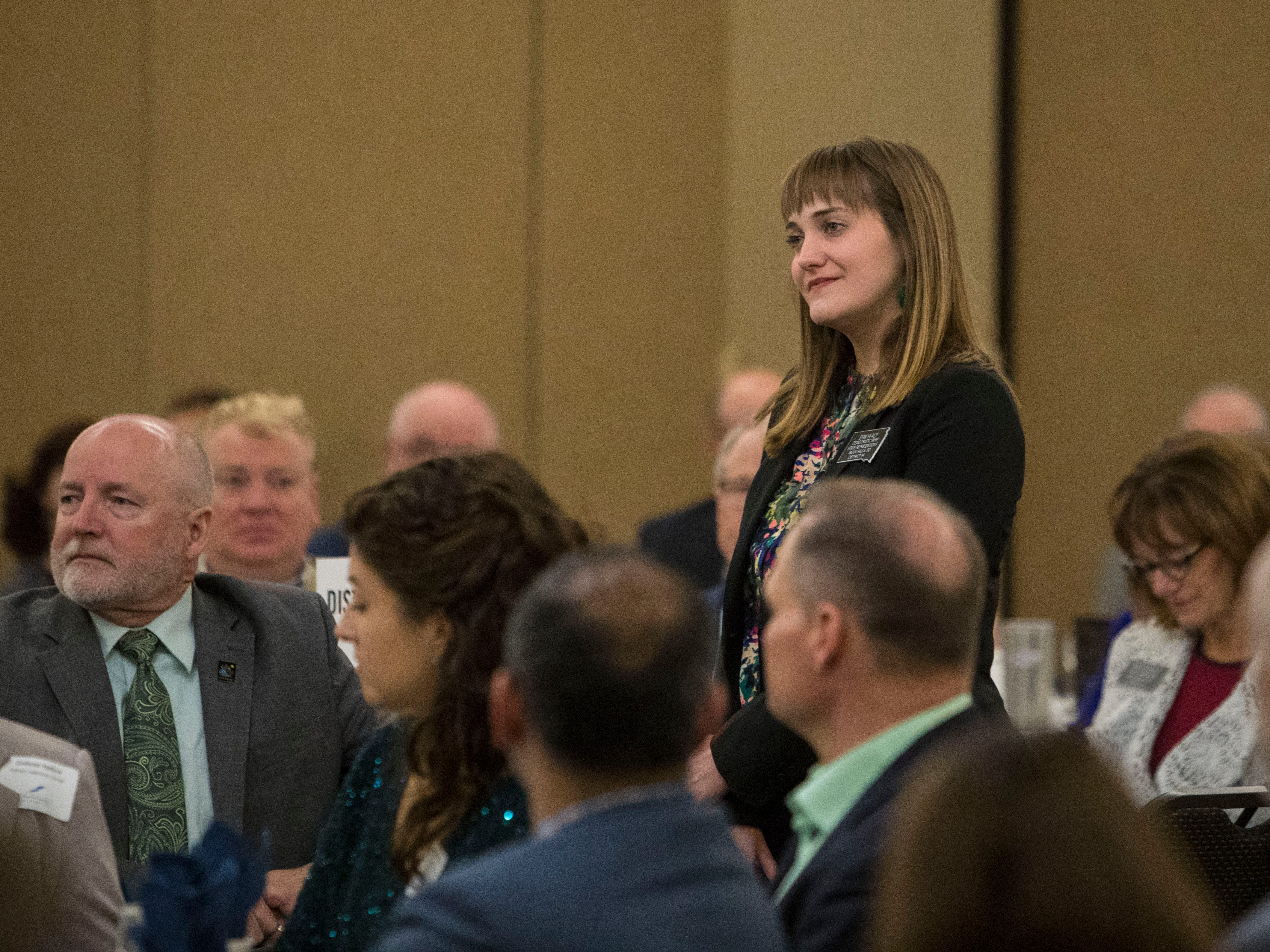 Rep. Erin Healy, District 14, speaks at the Chamber of Commerce legislative breakfast, Thursday, Jan. 3, 2019 at the Best Western Plus Ramkota Hotel in Sioux Falls, S.D.