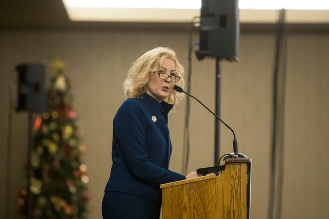 Debra Owen, public policy director at the Sioux Falls Area Chamber of Commerce, speaks at the legislative breakfast, Thursday, Jan. 3, 2019 at the Best Western Plus Ramkota Hotel in Sioux Falls, S.D.