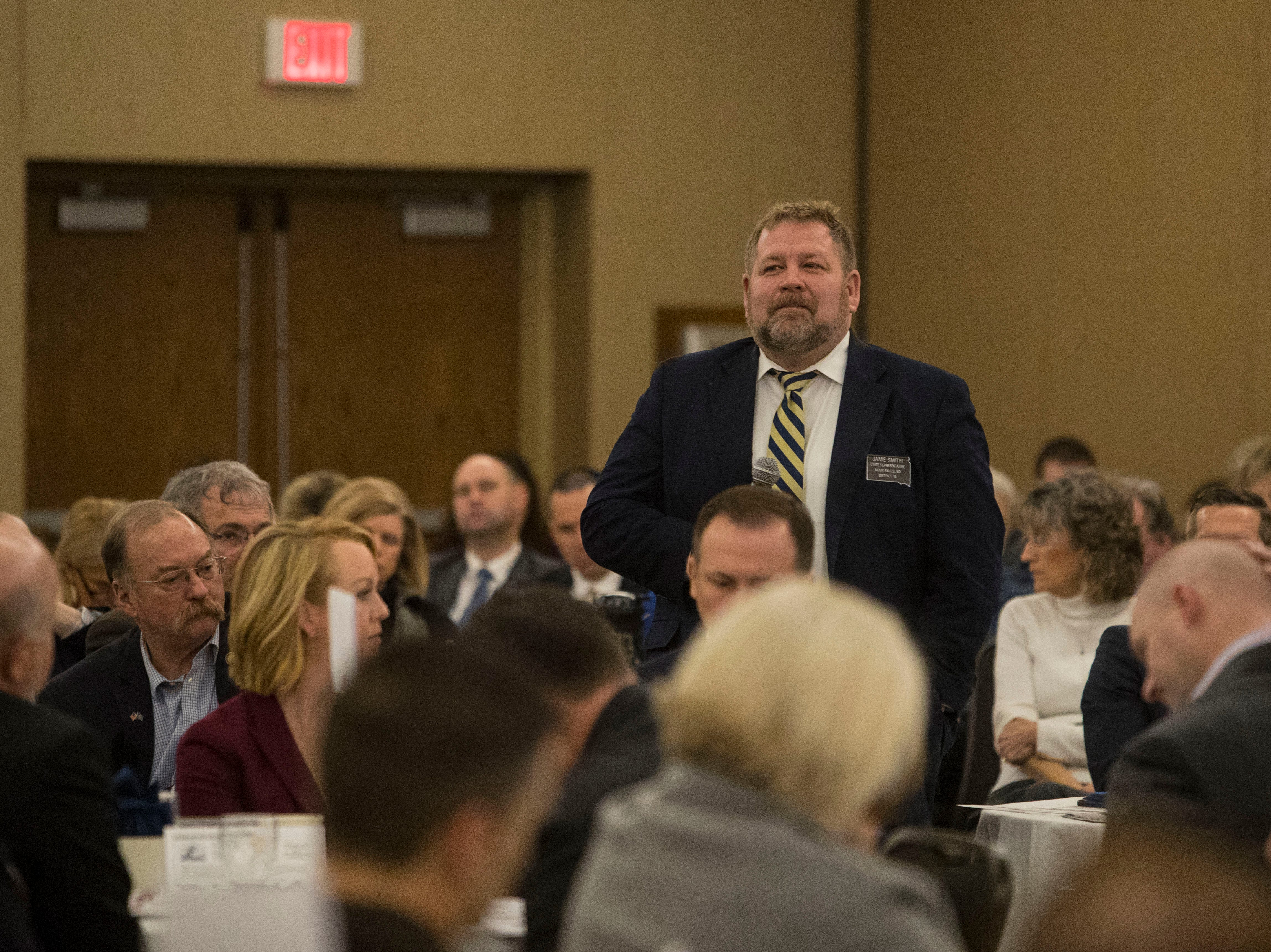 Rep. Jamie Smith, District 15, speaks at the Chamber of Commerce legislative breakfast, Thursday, Jan. 3, 2019 at the Best Western Plus Ramkota Hotel in Sioux Falls, S.D.