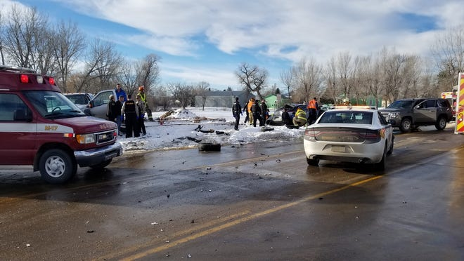 Five people were injured after a crash in Rapid City Thursday and transported to the hospital. The crash happened during a pursuit involving Pennington County Sheriff deputies.