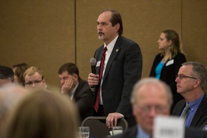 Rep. Steven Haugaard, District 10, speaks at the Chamber of Commerce legislative breakfast, Thursday, Jan. 3, 2019 at the Best Western Plus Ramkota Hotel in Sioux Falls, S.D.