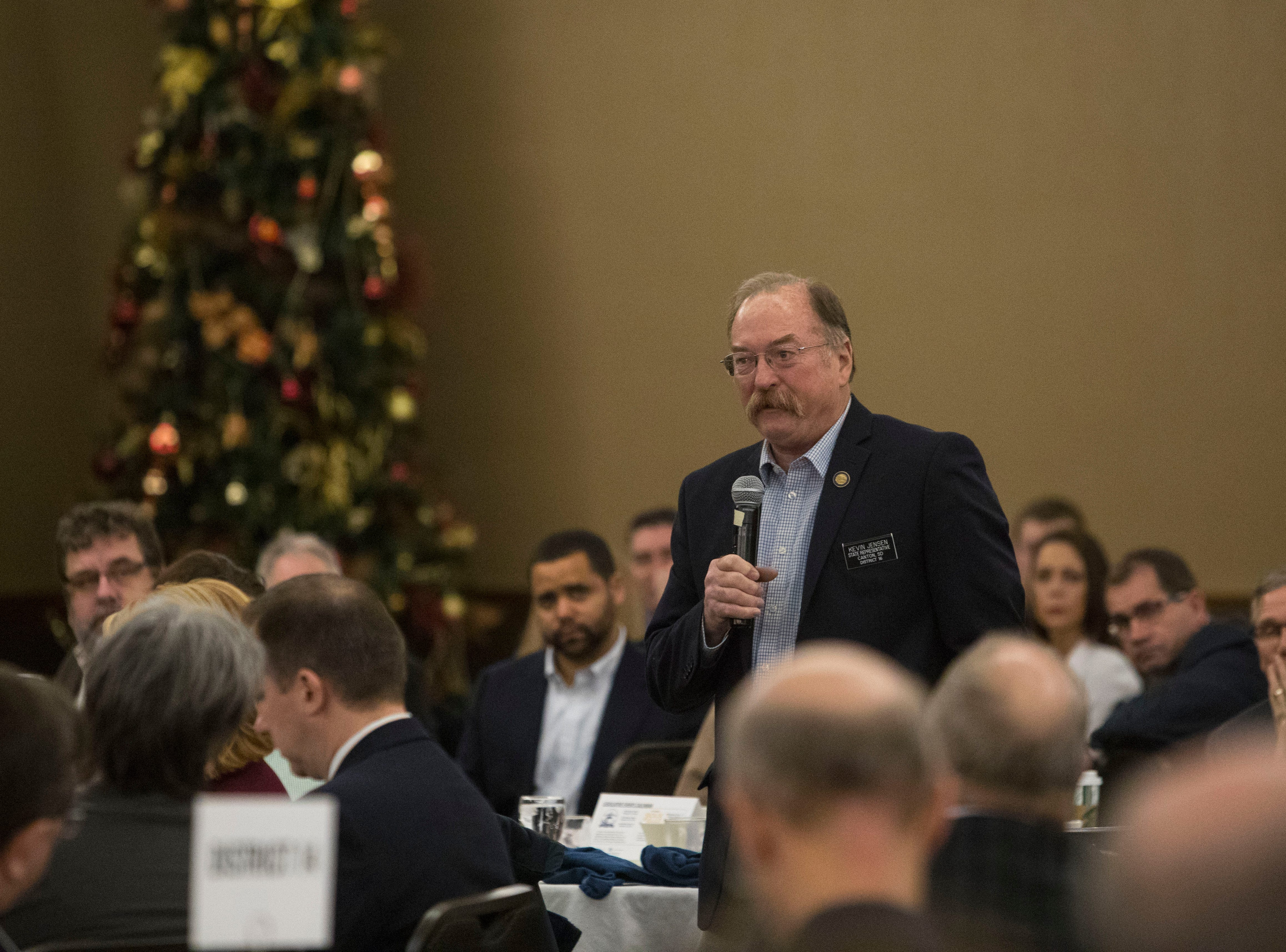 Rep. Kevin D. Jensen, District 16, speaks at the Chamber of Commerce legislative breakfast, Thursday, Jan. 3, 2019 at the Best Western Plus Ramkota Hotel in Sioux Falls, S.D.