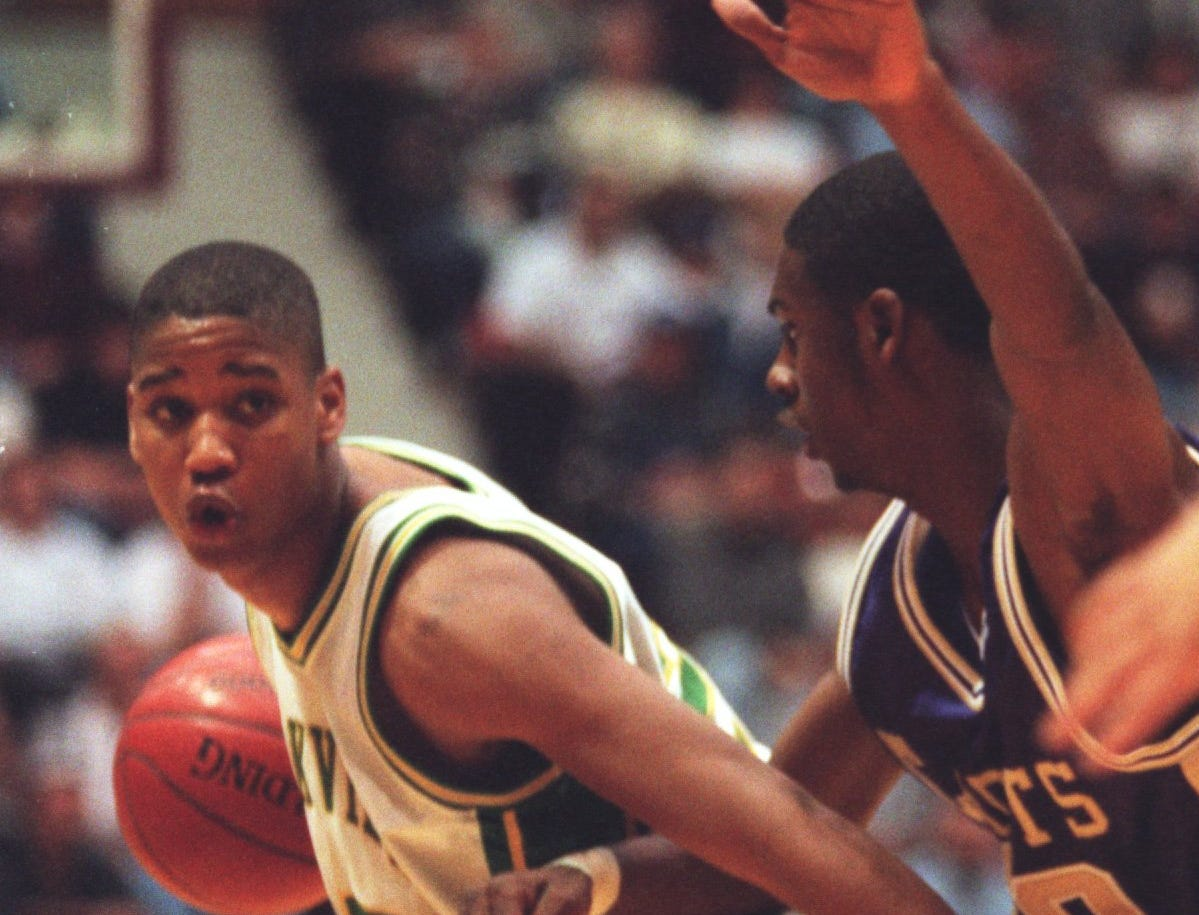 Larry Hughes plays defense during the 1997 Tournament of Champions.