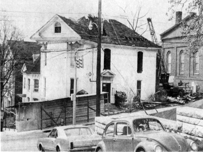 1972 News Leader photo of the Mary Julia Baldwin house at the corner of Frederick and Market streets, in the process of demolition by the First Presbyterian Church. The 1869 house was one of four built by Baldwin.
