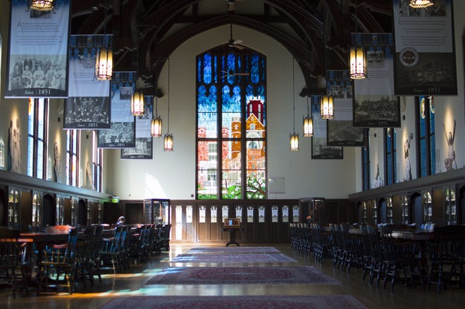 The leaded glass window at FSU's Dodd Hall, designed by the Bischoffs.