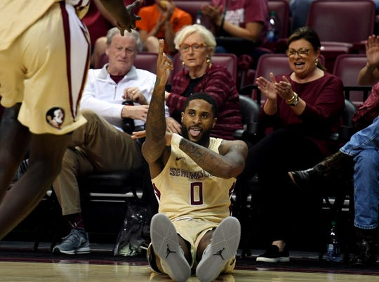 Jan 1, 2019; Tallahassee, FL, USA; Florida State Seminoles forward Phil Cofer (0) celebrates after scoring during the first half against the Winthrop Eagles at Donald L. Tucker Center. Mandatory Credit: Melina Myers-USA TODAY Sports