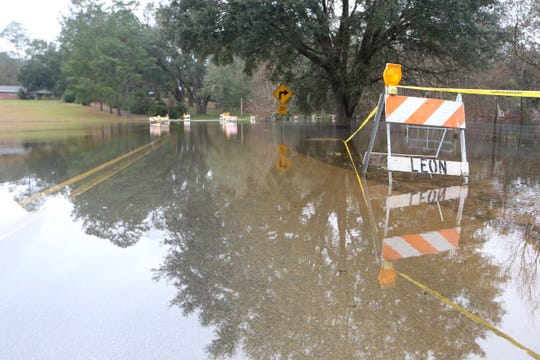 Maylor Road flooded with rain water, Thursday, Jan. 3, 2019. The county closed the roadway due to the amount of standing water and the unsafe driving conditions.