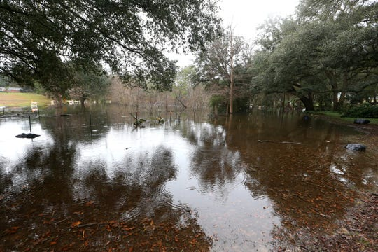 The pasture area owned by the Martinez family located off of Maylor Road, flooded with up to 25 feet of water in some areas, Thursday, Jan. 3, 2019. Maylor Road has been closed by the county due to the amount of standing water covering the roadway.