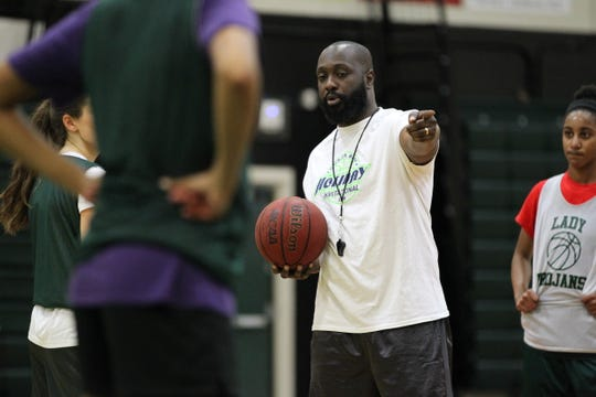 Lincoln girls basketball coach Rod Mack directs a practice on Wednesday, Jan. 2, 2019.