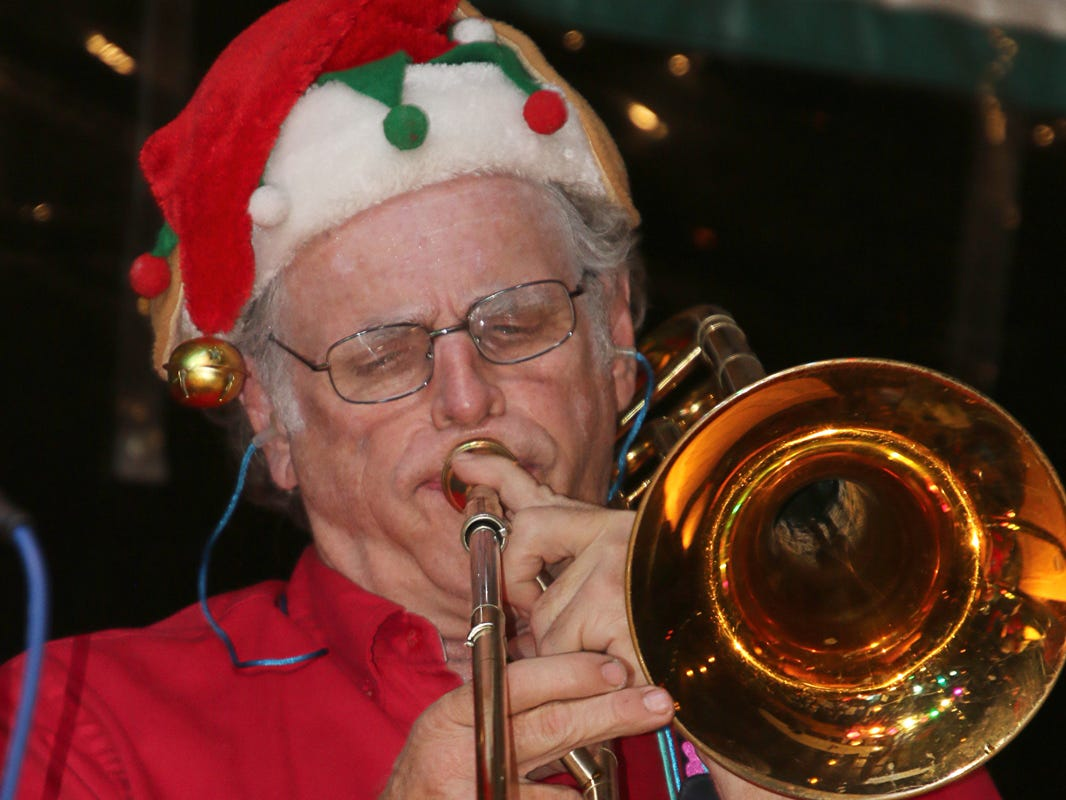Chauncey Mays on the trombone at the Fort Pierce Jazz & Blues Society's  Ring-a-Ding-Ding Holiday Fling at Summer Crush Vineyard & Winery.