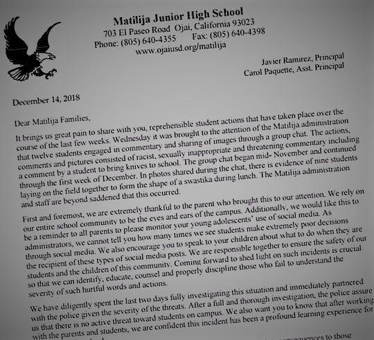 Matilija Junior High School's principal and assistant principal wrote this letter after students formed a human swastika on campus.