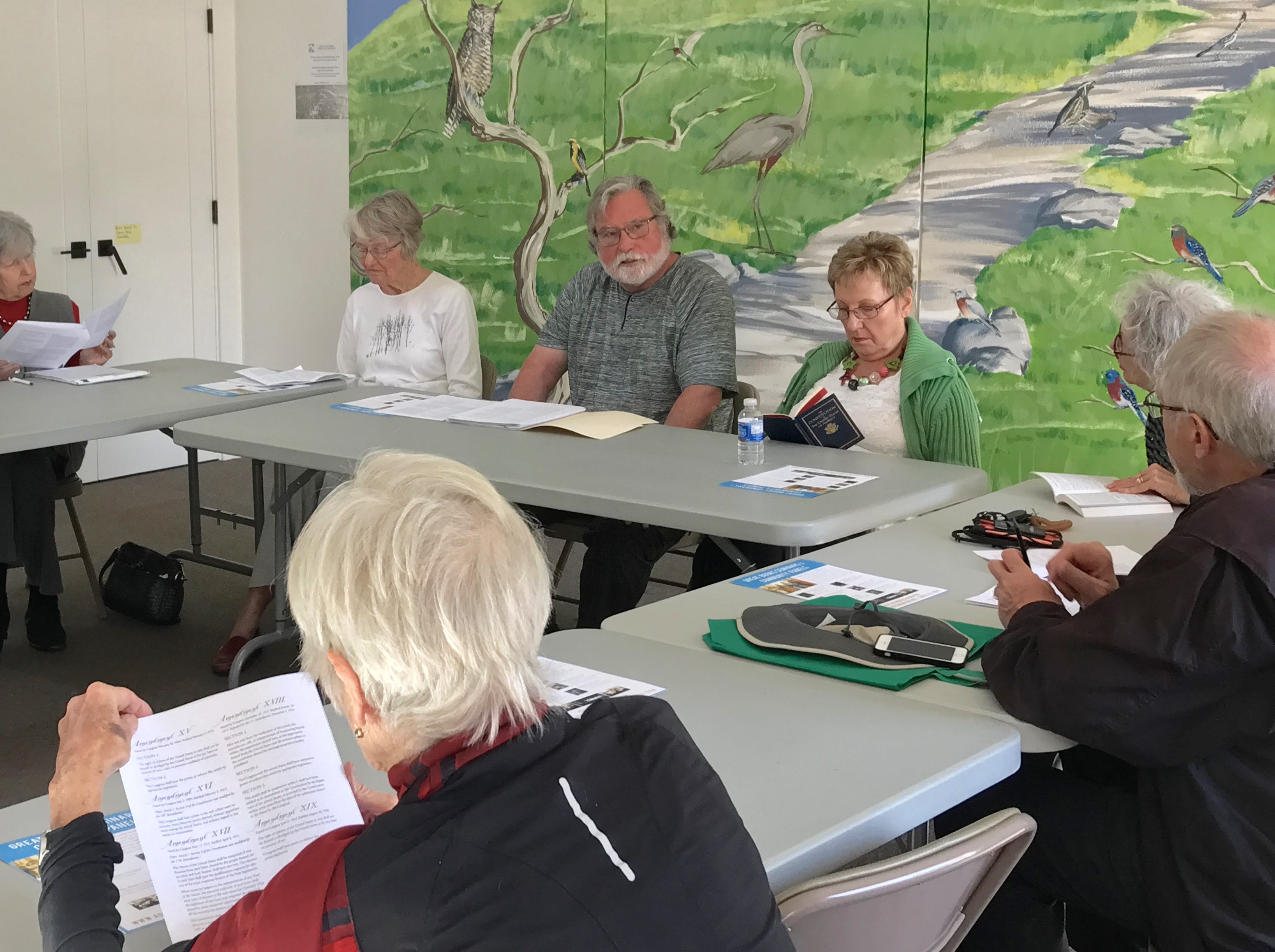 Barry Rabe, of Ojai, deliberates how to interpret amendments in the U.S. Constitution during an Agora Foundation seminar at the Ojai Library.