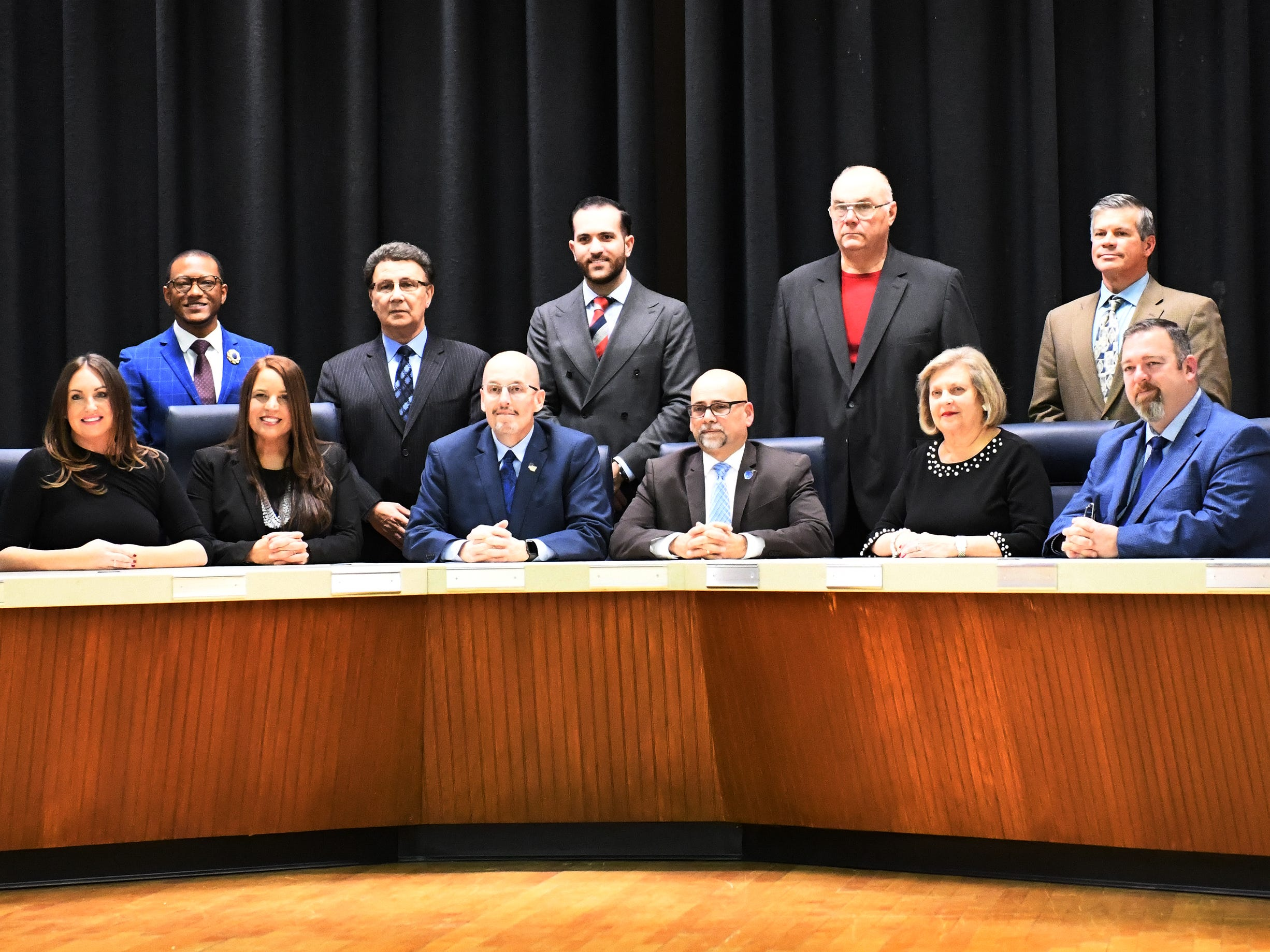 The Vineland Board of Education posses for a group photo following a reorganization meeting on Wednesday, January 2, 2019.